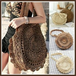 *COMING SOON* White Rattan Crochet Round Tote Bag